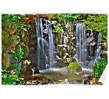Waterfall at Japanese Gardens Poster
