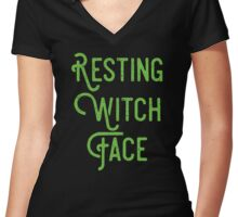 Resting Witch Face Women's Fitted V-Neck T-Shirt