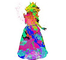 Princess Peach Paint Splatter Black Photographic Print