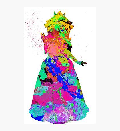 Princess Peach Paint Splatter Black Photographic Print