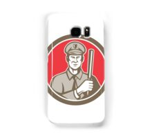 Policeman With Night Stick Baton Circle Retro Samsung Galaxy Case/Skin