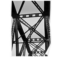 BW Railroad Bridge Beams Poster