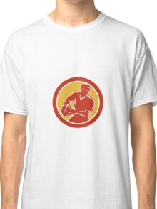 Rugby Player Passing Ball Circle Retro Classic T-Shirt