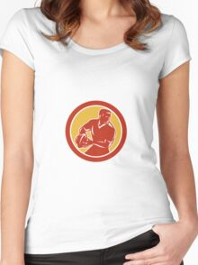 Rugby Player Passing Ball Circle Retro Women's Fitted Scoop T-Shirt