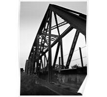 Rail Road Bridge Richmond Texas BW Poster
