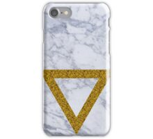 gold glitter triangle - gray marble iPhone Case/Skin
