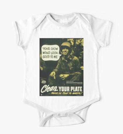 Vintage poster - Clean your plate One Piece - Short Sleeve