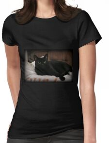Reclining Womens Fitted T-Shirt