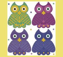 Whimsical Cartoon Owl Pattern One Piece - Short Sleeve