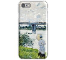 Claude Monet - The Promenade With The Railroad Bridge, Argenteuil 1874  iPhone Case/Skin