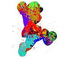 Mario Paint Splatter Black Photographic Print