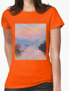 Claude Monet - Sunset On The Seine At Lavacourt Winter Effect Womens Fitted T-Shirt
