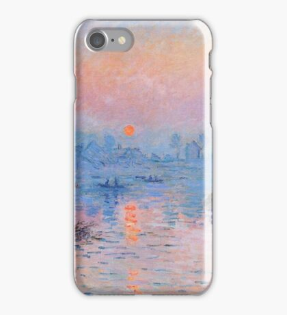 Claude Monet - Sunset On The Seine At Lavacourt Winter Effect 1880 iPhone Case/Skin