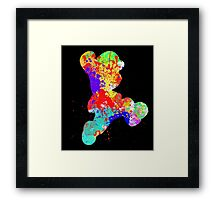 Mario Paint Splatter White Framed Print