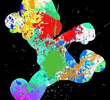 Luigi Paint Splatter White by choopy