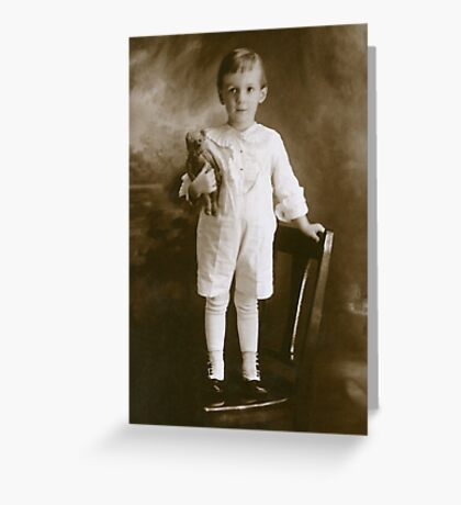 Little Boy Child with Teddy Bear Greeting Card