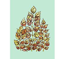 Hand drawn watercolor  golden leaves Photographic Print