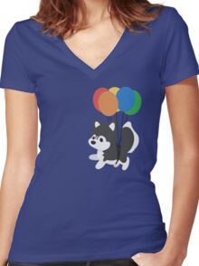 Balloon Husky Women's Fitted V-Neck T-Shirt