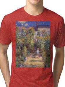Claude Monet - The Artist S Garden At Vetheuil 1881 Tri-blend T-Shirt