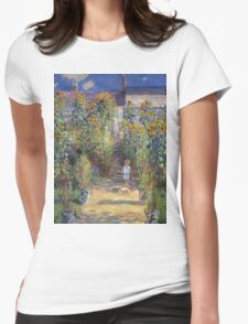 Claude Monet - The Artist S Garden At Vetheuil 1881 Womens Fitted T-Shirt