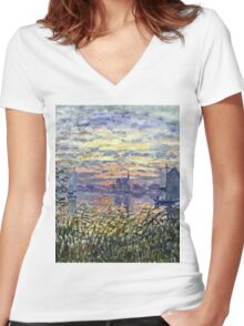 Claude Monet - Marine View With A Sunset 1875  Women's Fitted V-Neck T-Shirt