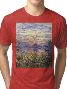 Claude Monet - Marine View With A Sunset 1875  Tri-blend T-Shirt