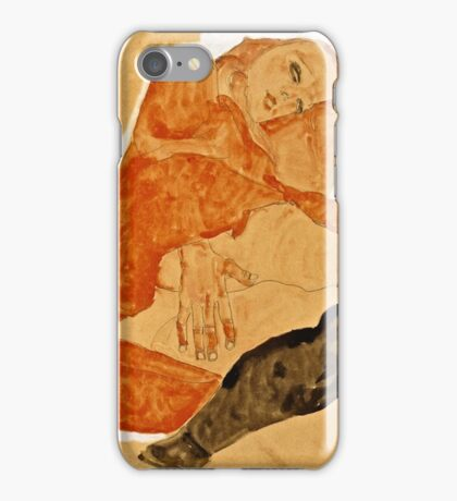 Egon Schiele - Girl in Red Robe and Black Stockings (1911)  iPhone Case/Skin