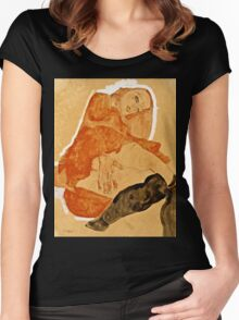 Egon Schiele - Girl in Red Robe and Black Stockings (1911)  Women's Fitted Scoop T-Shirt