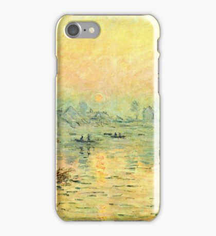 Claude Monet - Sun Setting Over The Seine At Lavacourt  Winter Effect 1880  iPhone Case/Skin