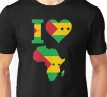 I love Sao Tome flag Africa map t-shirt Unisex T-Shirt
