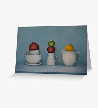 Still life with tea and fruit  Greeting Card