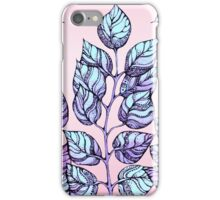Rose Quartz and Serenity hand drawn and watercolor leaves  iPhone Case/Skin