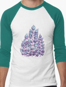 Rose Quartz and Serenity hand drawn and watercolor leaves  Men's Baseball ¾ T-Shirt