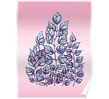Rose Quartz and Serenity hand drawn and watercolor leaves  Poster