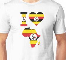 I love Uganda flag Africa map t-shirt Unisex T-Shirt