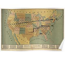 Map of the US, Slavery and Religion - 1888 Poster