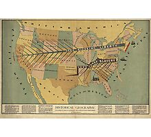 Map of the US, Slavery and Religion - 1888 Photographic Print