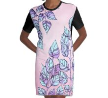 Rose Quartz and Serenity hand drawn and watercolor leaves  Graphic T-Shirt Dress