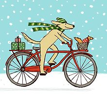 Cycling Dog and Squirrel Holiday by Jenn Inashvili