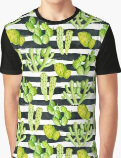 cactuses on black watercolor stripes Graphic T-Shirt