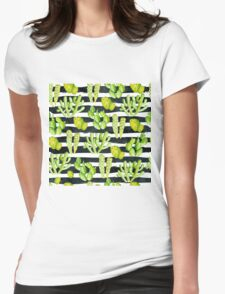 cactuses on black watercolor stripes Womens Fitted T-Shirt