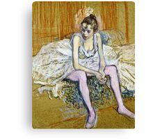 Henri De Toulouse Lautrec -  A Seated Dancer With Pink Stockings  Canvas Print
