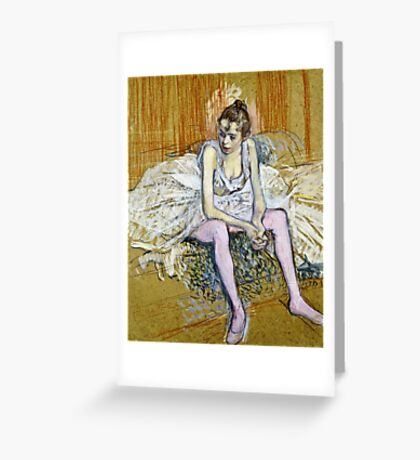 Henri De Toulouse Lautrec -  A Seated Dancer With Pink Stockings  Greeting Card