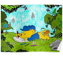 Ferald Drawing By The Waterfall Poster