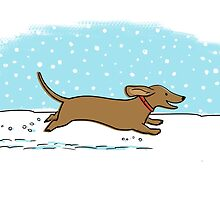 Snow Dachshund Holiday by Jenn Inashvili