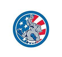 Republican Elephant Boxer Mascot Circle Cartoon by patrimonio