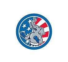 Republican Elephant Boxer Mascot Circle Cartoon Photographic Print