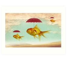fish umbrellas Art Print