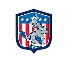 Republican Elephant Boxer Mascot Shield Cartoon by patrimonio