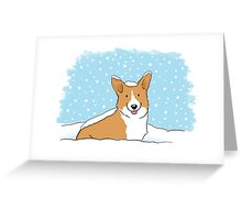 Snow Corgi Greeting Card